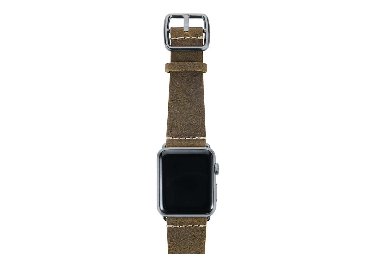 Green light Apple watch band handmade in Italy with space gray case on top