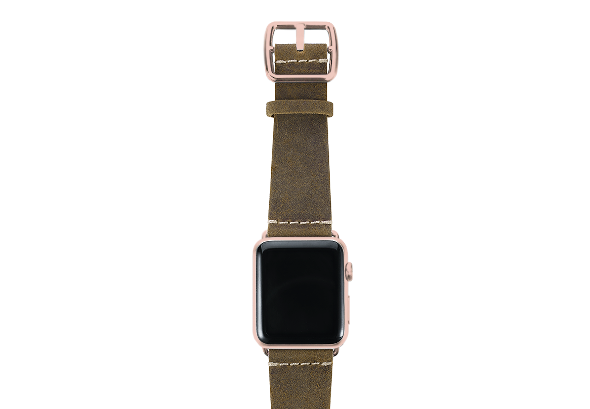 Green light Apple watch band handmade in Italy with rose gold case on top