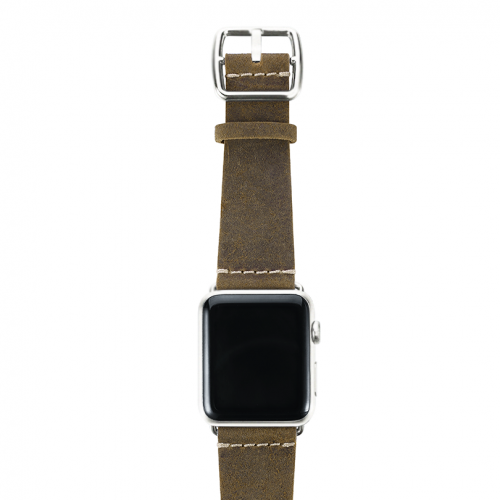Green light Apple watch band handmade in Italy with silver case on top