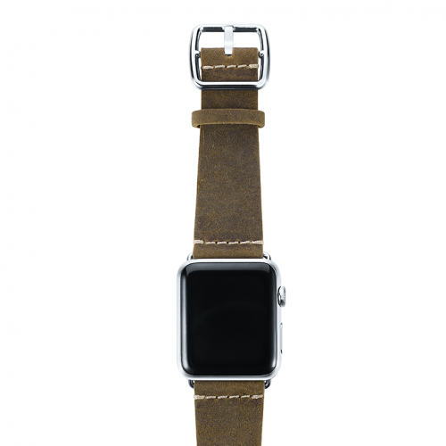 Green light Apple watch band handmade in Italy with steel case on top