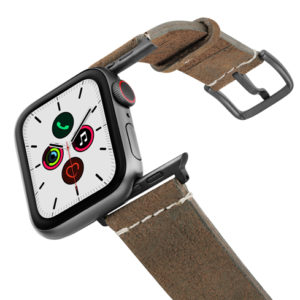 Khaki-Sun-Apple-Watch-heritage-green-leather-band-on-air-space-grey-adapters