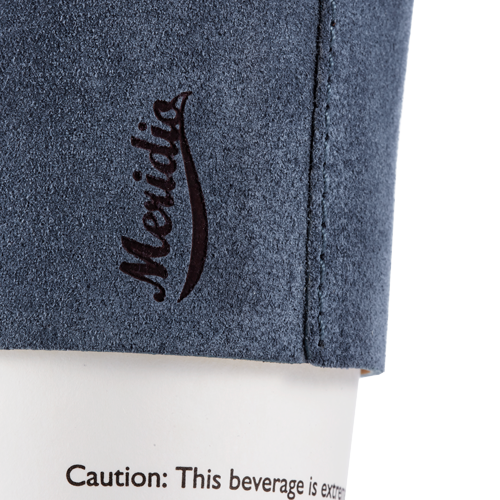 Blue leather coffee sleeve