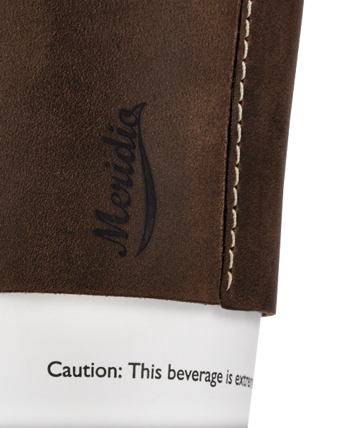 Dark brown leather coffee cup sleeve