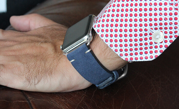 Blue-suede-Apple-watch-band-denim-man