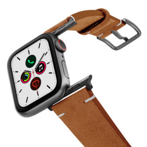 Reindeer-AW-brown-suede-leather-band-on-air-space-grey-adapters