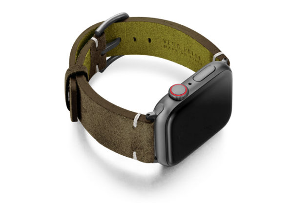Southern-Pine-AW-green-suede-leather-band-with-case-on-right