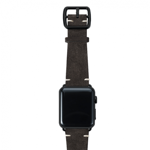 Choco brown velour Apple watch leather band handmade in Italy with black finishes