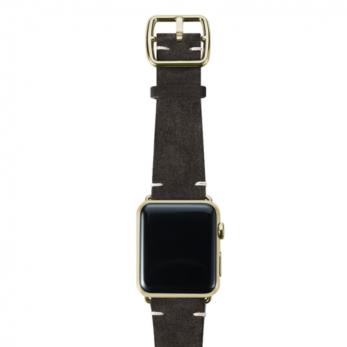 Choco brown velour Apple watch leather band handmade in Italy with yellow gold finishes
