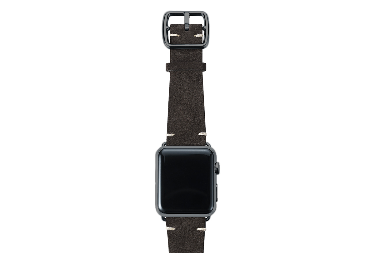 Choco brown velour Apple watch leather band handmade in Italy with space grey finishes