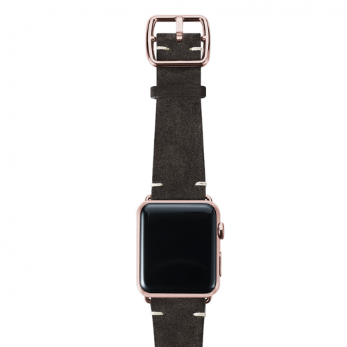 Choco brown velour Apple watch leather band handmade in Italy with rose gold finishes