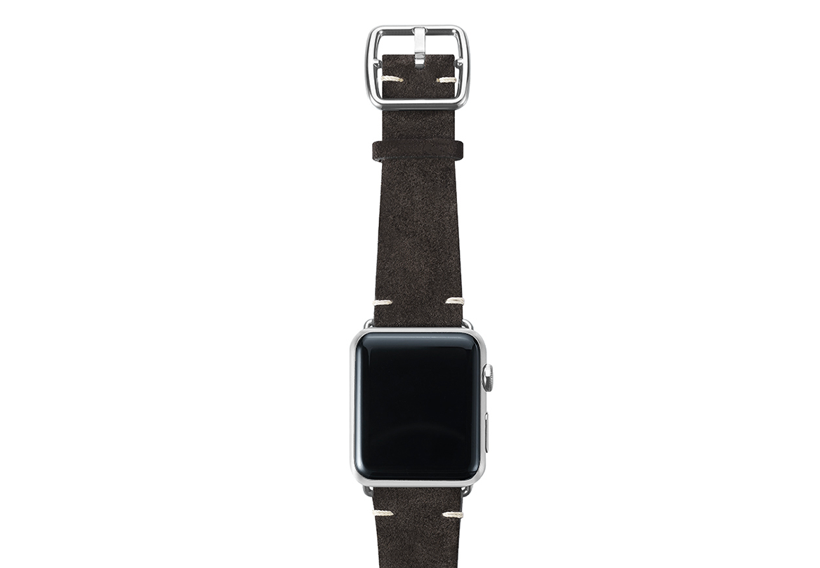 Choco brown velour Apple watch leather band handmade in Italy with silver finishes