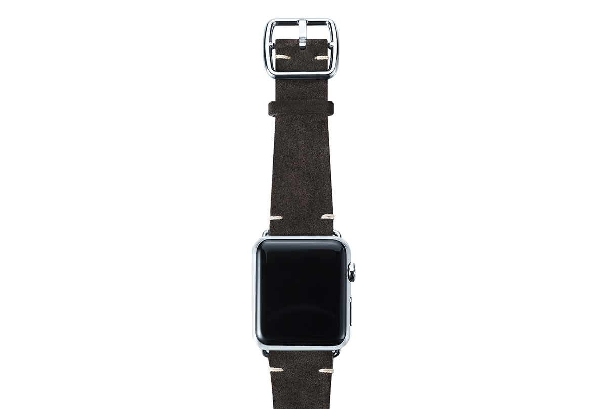 Choco brown velour Apple watch leather band handmade in Italy with stainless finishes