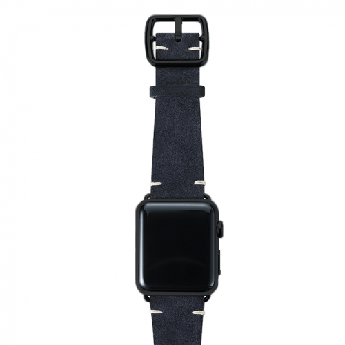 Blue velour Apple watch leather band handmade in Italy with black finishes