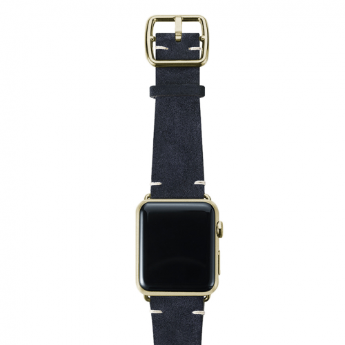 Blue velour Apple watch leather band handmade in Italy with yellow gold case