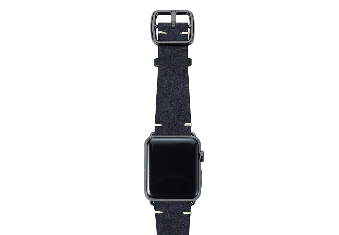 Blue velour Apple watch leather band handmade in Italy with space grey finishes