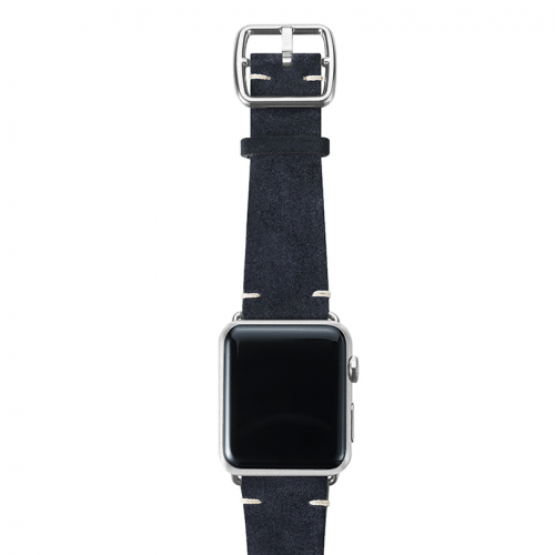 Blue velour Apple watch leather band handmade in Italy with silver finishes