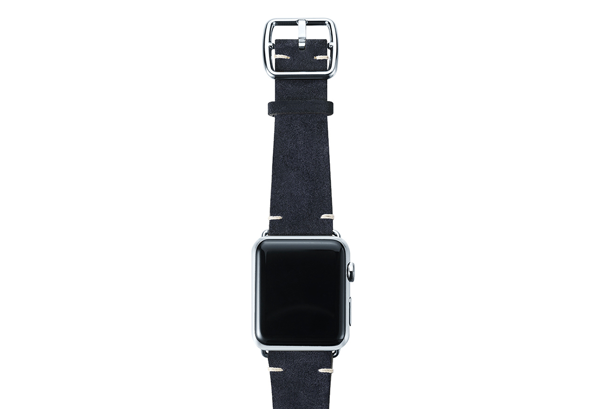 Blue velour Apple watch leather band handmade in Italy with stainless finishes