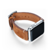 Light brown velour Apple watch leather band handmade in Italy with right case