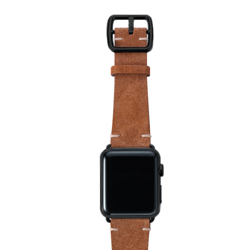 Light brown velour Apple watch leather band handmade in Italy with black finishes