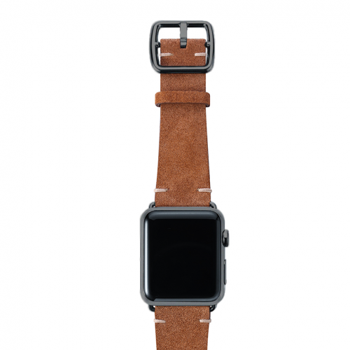 Light brown velour Apple watch leather band handmade in Italy with space grey finishes