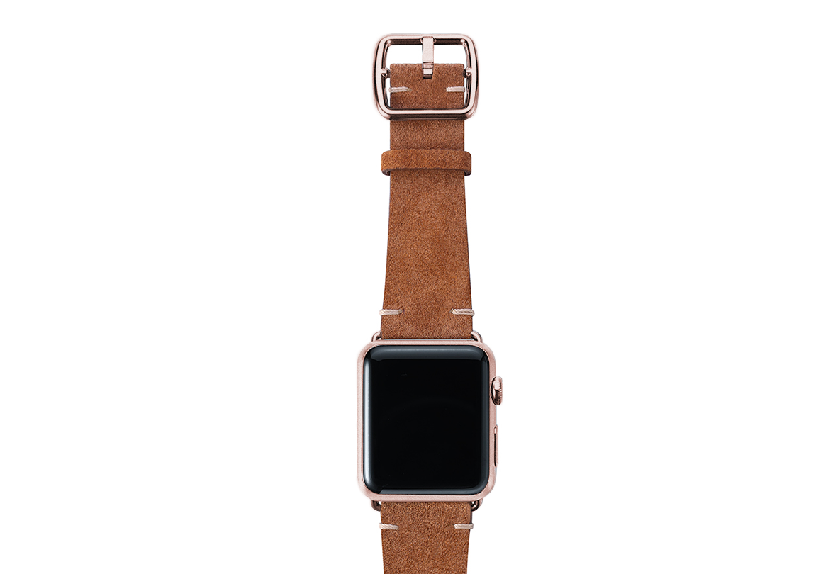 Light brown velour Apple watch leather band handmade in Italy with rose gold finishes