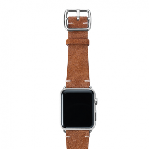 Light brown velour Apple watch leather band handmade in Italy with silver finishes