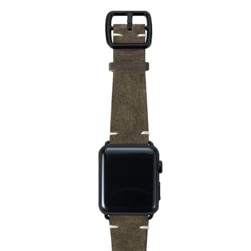 Green brown velour Apple watch leather band handmade in Italy with black finishes