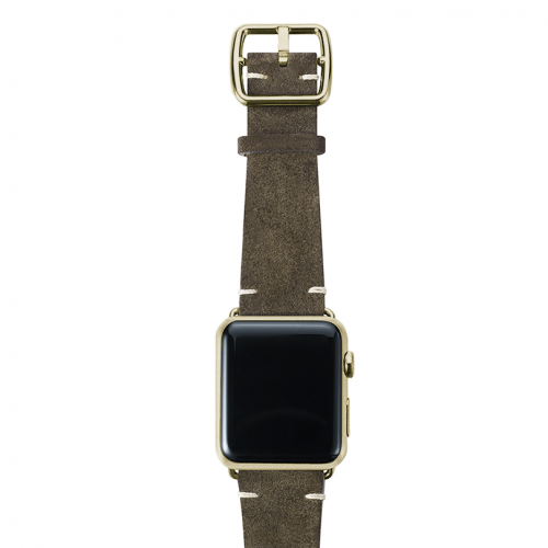 Green brown velour Apple watch leather band handmade in Italy with yellow gold finishes