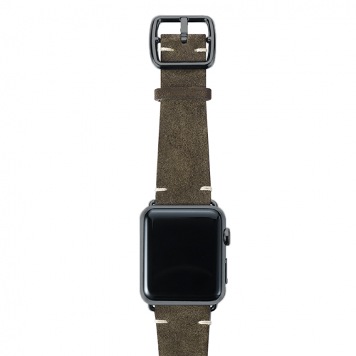 Green brown velour Apple watch leather band handmade in Italy with space grey finishes
