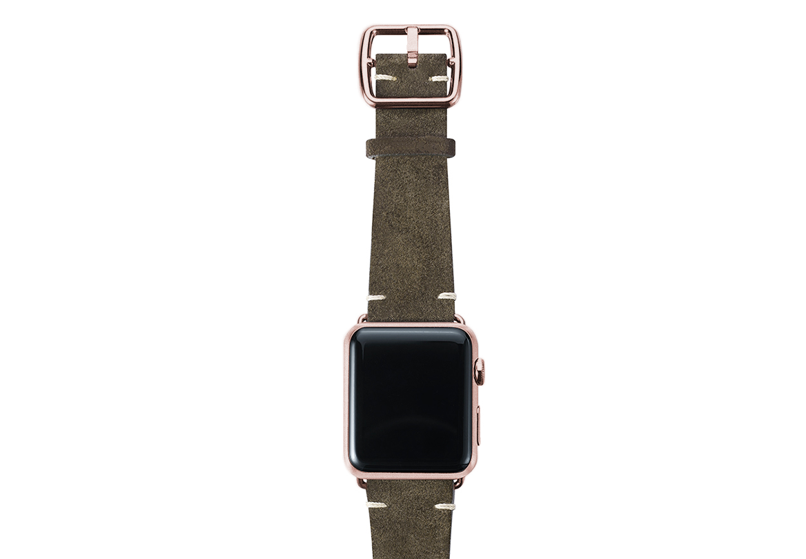 Green brown velour Apple watch leather band handmade in Italy with rose gold finishes