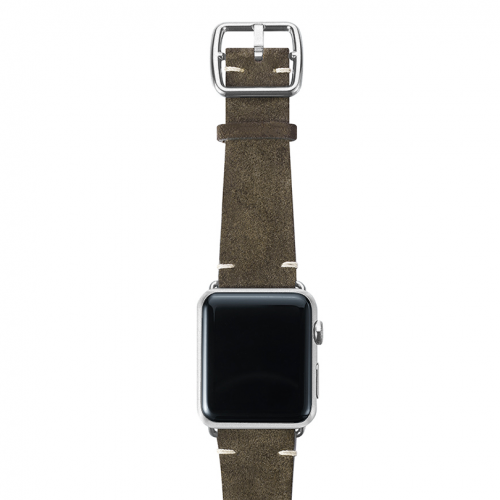 Green brown velour Apple watch leather band handmade in Italy with silver finishes