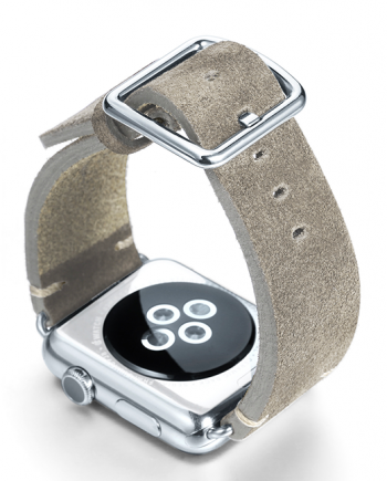 Light grey velour Apple watch leather band handmade in Italy with back case