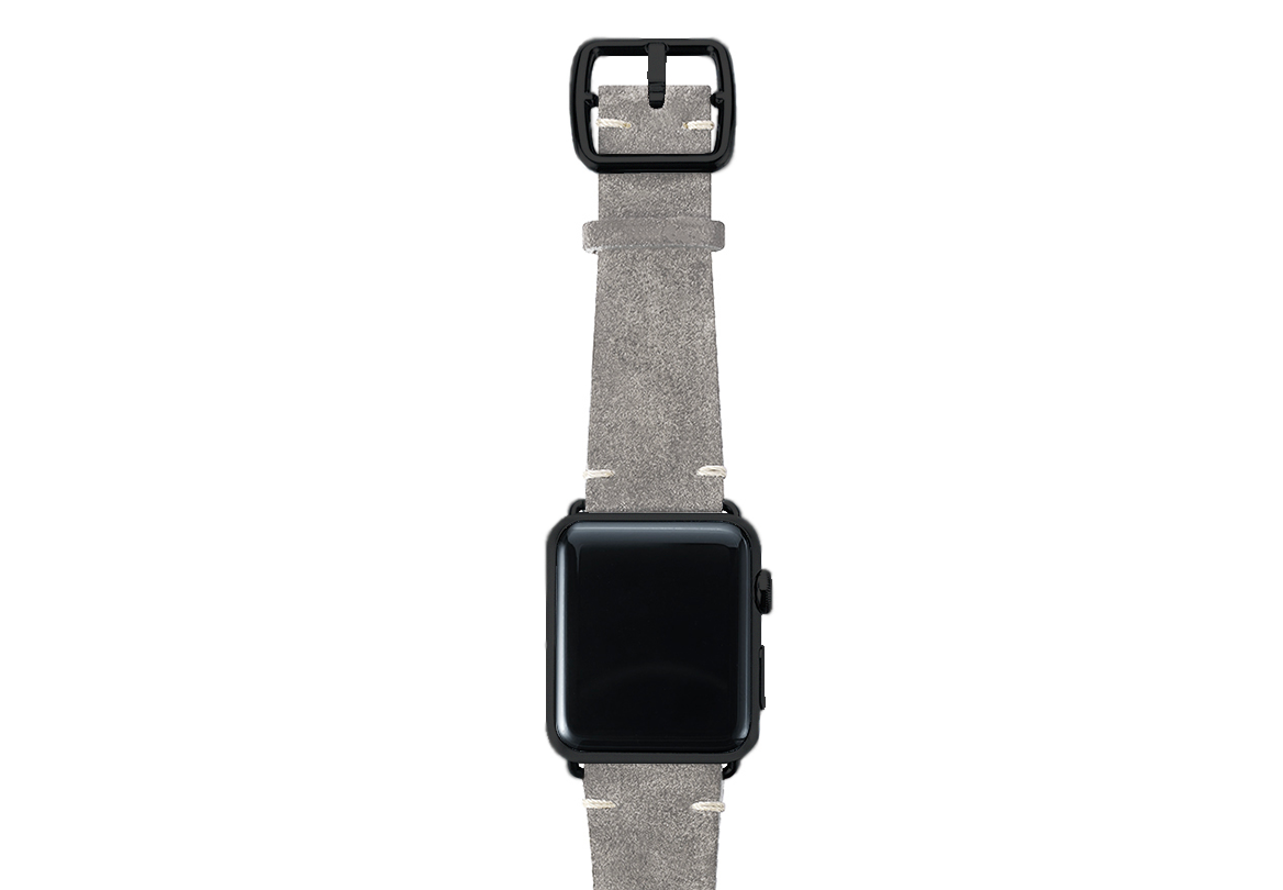 Light grey velour Apple watch leather band handmade in Italy with black finishes