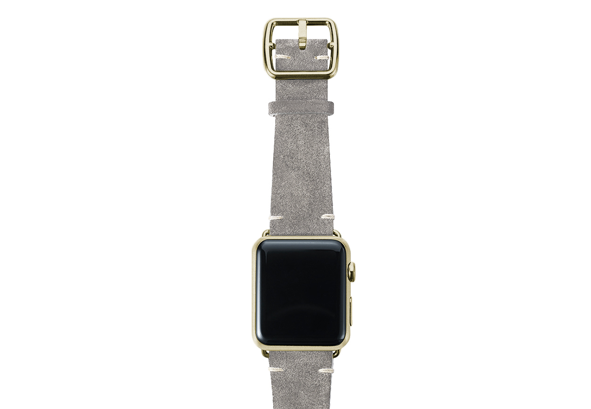 Light grey velour Apple watch leather band handmade in Italy with yellow gold finishes