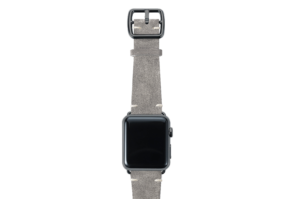 Light grey velour Apple watch leather band handmade in Italy with space grey finishes