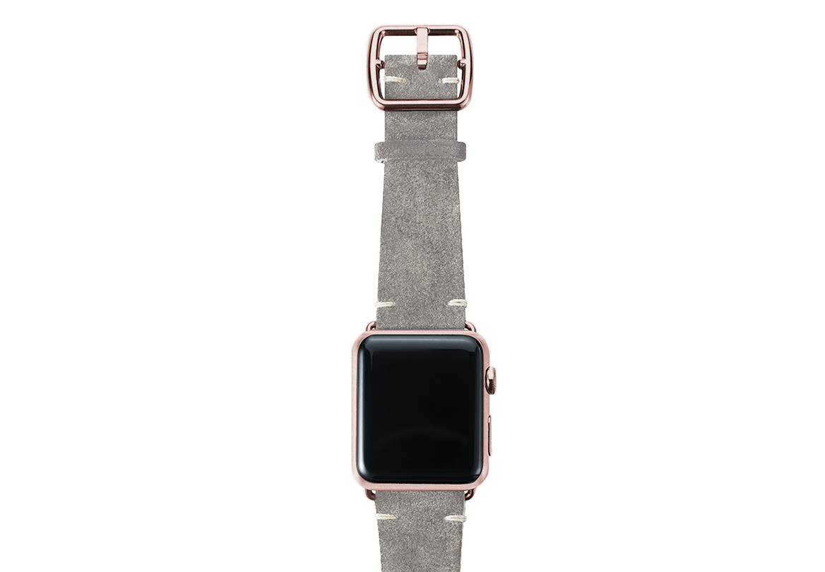 Light grey velour Apple watch leather band handmade in Italy with rose gold finishes