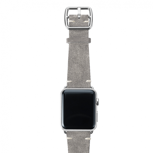 Light grey velour Apple watch leather band handmade in Italy with silver finishes