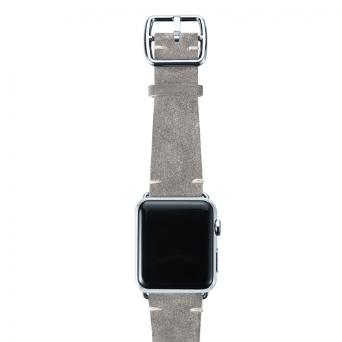 Light grey velour Apple watch leather band handmade in Italy with stainless finishes