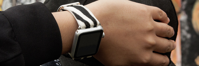 An Apple Watch band made with hair calf leather