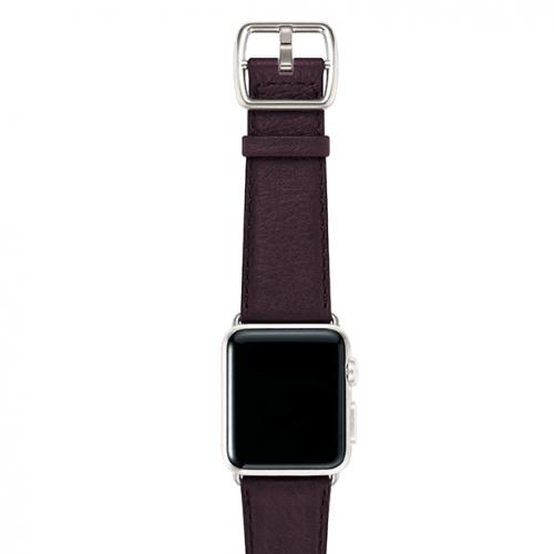 Burgundy-prugna-nappa-applewatchleatherband-silvercase