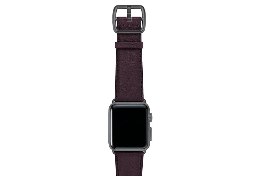 Burgundy-prugna-nappa-applewatchleatherband-spacegreycase