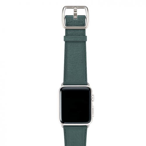 Denim-blue-nappa-applewatchleatherband-silvercase