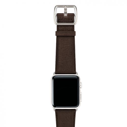 SlateBrown-testadimoro-nappa-applewatchleatherband-silvercase