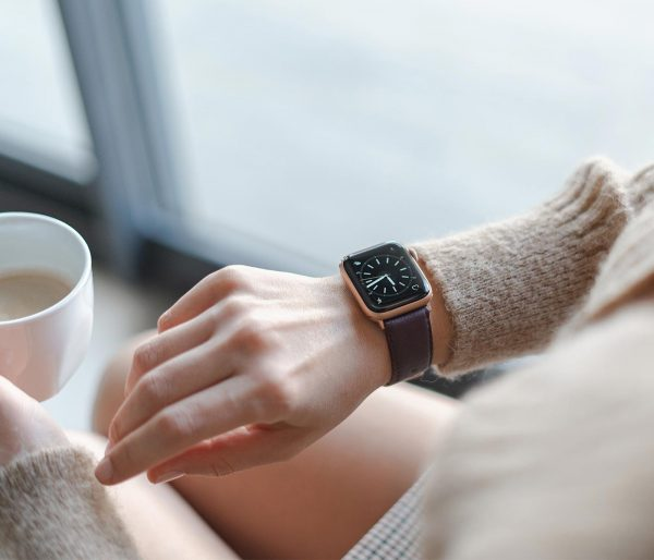 Burgundy-Apple-watch-nappa-calf-leather-band-handling-a-cup-of-coffee
