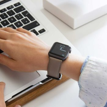 Pottery-Apple-watch-grey-nappa-band-for-her-typing-on-keyboard