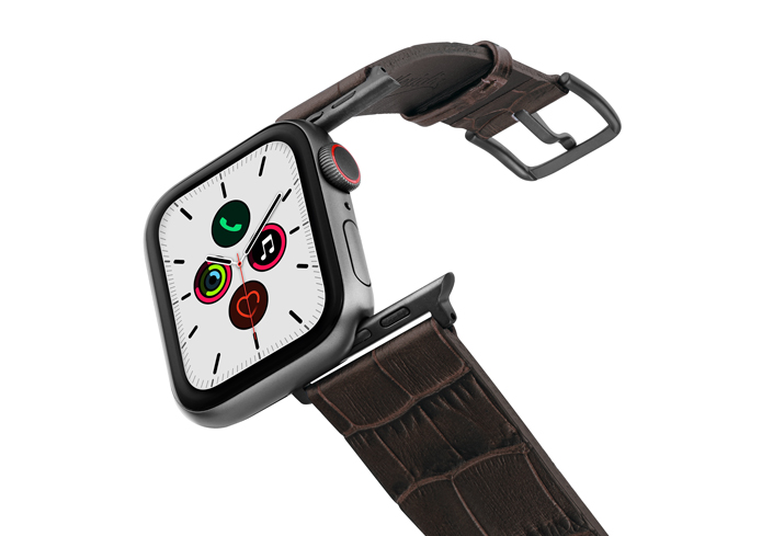 Evening-Shadow-Apple-watch-brown-reptilia-leather-band-on-air-space-grey-adapters