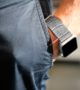 Intercostal-Apple-watch-grey-genuine-leather-band-for-him-on-wrist