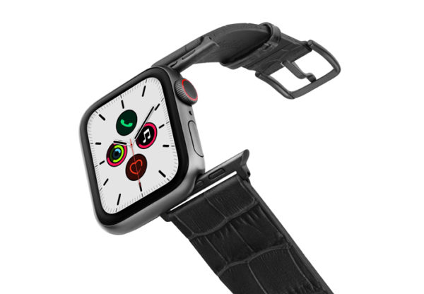 Pitch-black-Apple-watch-black-genuine-leather-band-on-air-space-grey-adapters