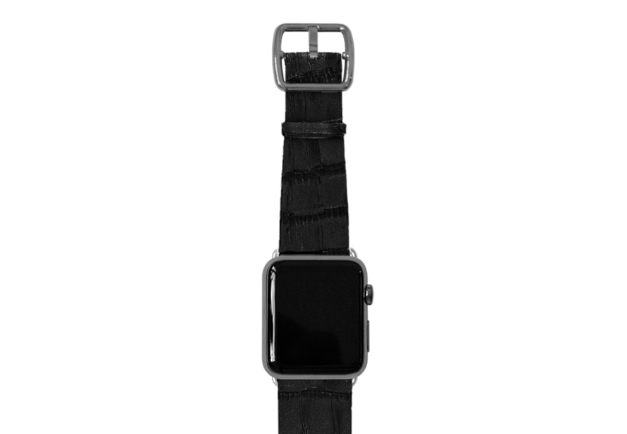 Pitch-black-Apple-watch-light-brown-genuine-leather-space-grey-case
