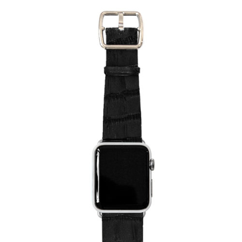 Pitch-black-Apple-watch-light-brown-genuine-leather-stainless-case